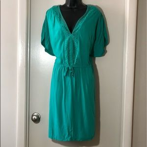 Torrid 3 teal green drawstring waist sheath dress